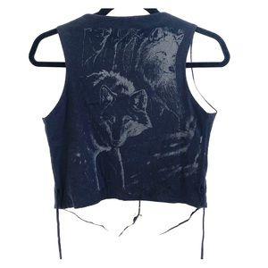 Urban Renewal Cropped Wolf Button Vest S/M